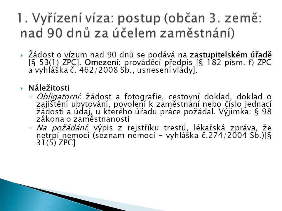  Žádost o vízum nad 90 dnů se podává na zastupitelském úřadě [§ 53(1) ZPC]. Omezení: prováděcí předpis [§ 182 písm. f) ZPC a vyhláška č. 462/2008 Sb.