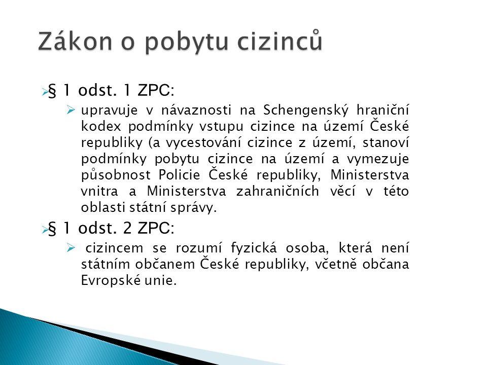  § 1 odst. 1 ZPC:  upravuje v návaznosti na Schengenský hraniční kodex podmínky vstupu cizince na území České republiky (a vycestování cizince z úze