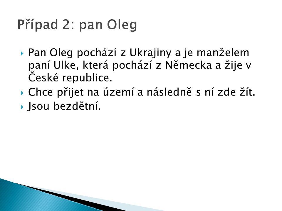  Pan Oleg pochází z Ukrajiny a je manželem paní Ulke, která pochází z Německa a žije v České republice.  Chce přijet na území a následně s ní zde ží