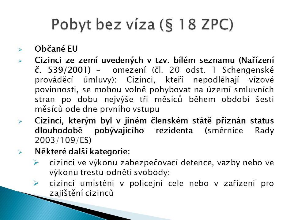  Občané EU  Cizinci ze zemí uvedených v tzv. bílém seznamu (Nařízení č. 539/2001) – omezení (čl. 20 odst. 1 Schengenské prováděcí úmluvy): Cizinci,