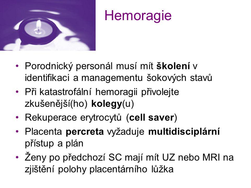 Hemoragie Porodnický personál musí mít školení v identifikaci a managementu šokových stavů Při katastrofální hemoragii přivolejte zkušenější(ho) koleg