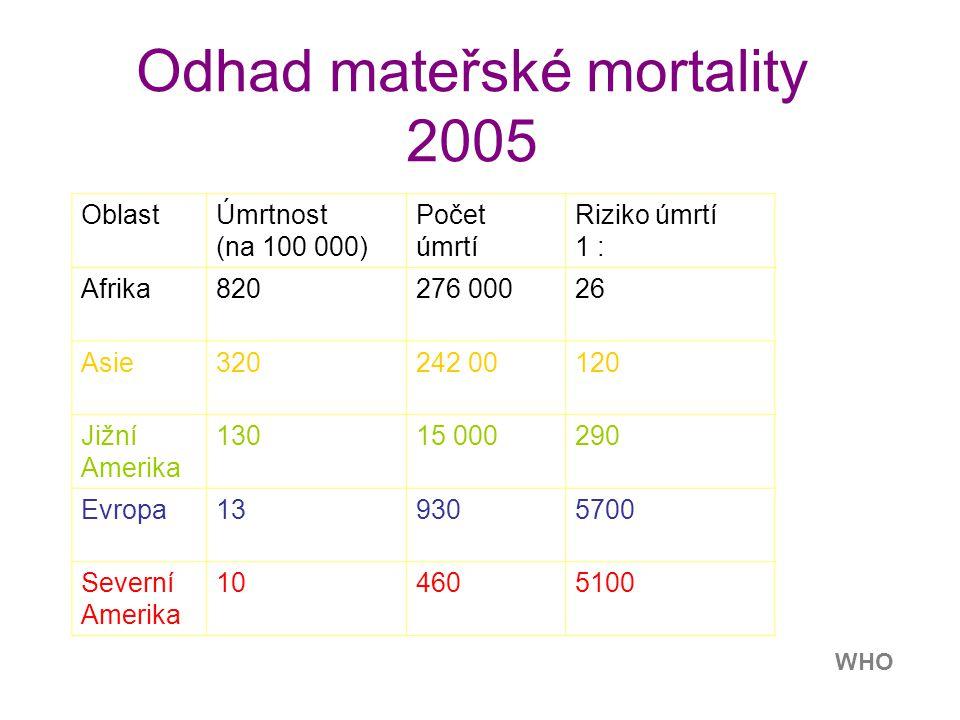 Kanada Norsko GB USA Mateřská úmrtnost 1999 Indie Celosvětově 0.5 milionu úmrtí ročně v r. 2007