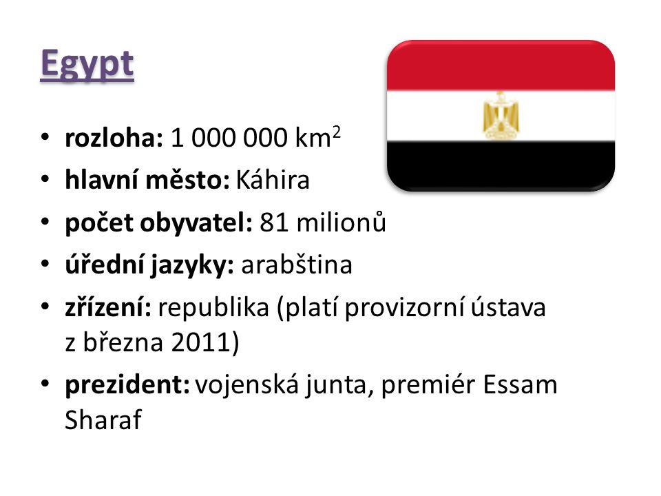 Egypt rozloha: 1 000 000 km 2 hlavní město: Káhira počet obyvatel: 81 milionů úřední jazyky: arabština zřízení: republika (platí provizorní ústava z b