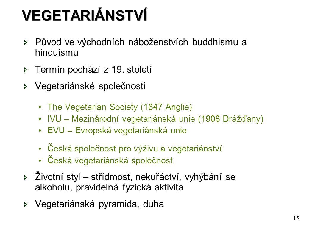 15 VEGETARIÁNSTVÍ  Původ ve východních náboženstvích buddhismu a hinduismu  Termín pochází z 19. století  Vegetariánské společnosti The Vegetarian