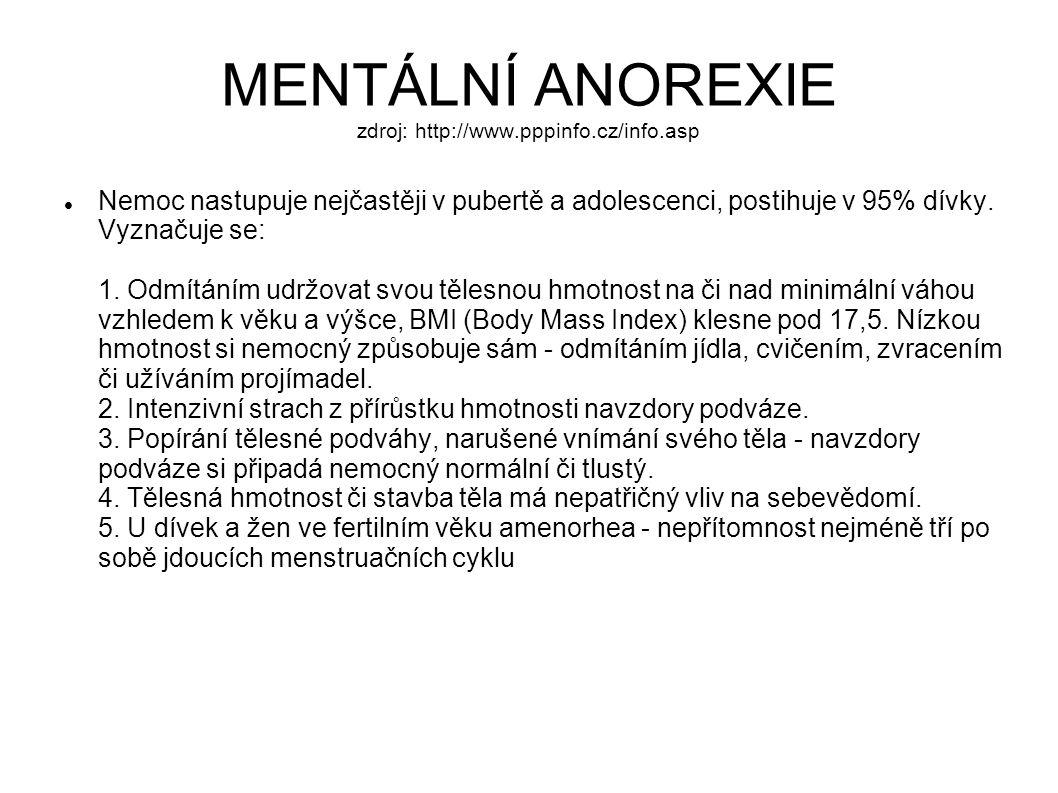 MENTÁLNÍ ANOREXIE zdroj: http://www.pppinfo.cz/info.asp Nemoc nastupuje nejčastěji v pubertě a adolescenci, postihuje v 95% dívky. Vyznačuje se: 1. Od