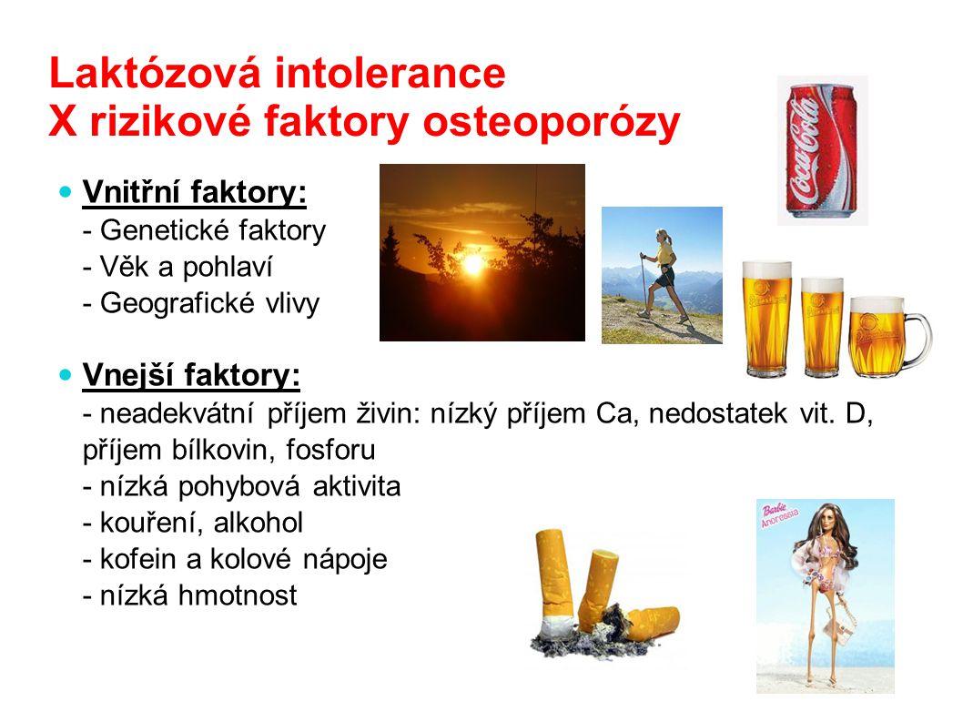 Laktózová intolerance X rizikové faktory osteoporózy Vnitřní faktory: - Genetické faktory - Věk a pohlaví - Geografické vlivy Vnejší faktory: - neadek