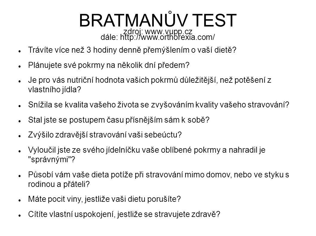 BRATMANŮV TEST zdroj: www.vupp.cz dále: http://www.orthorexia.com/ Trávíte více než 3 hodiny denně přemýšlením o vaší dietě? Plánujete své pokrmy na n