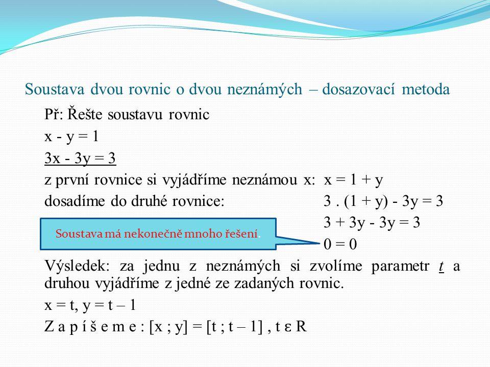 Př: Řešte soustavu rovnic x - y = 1 3x - 3y = 3 z první rovnice si vyjádříme neznámou x: x = 1 + y dosadíme do druhé rovnice:3. (1 + y) - 3y = 3 3 + 3