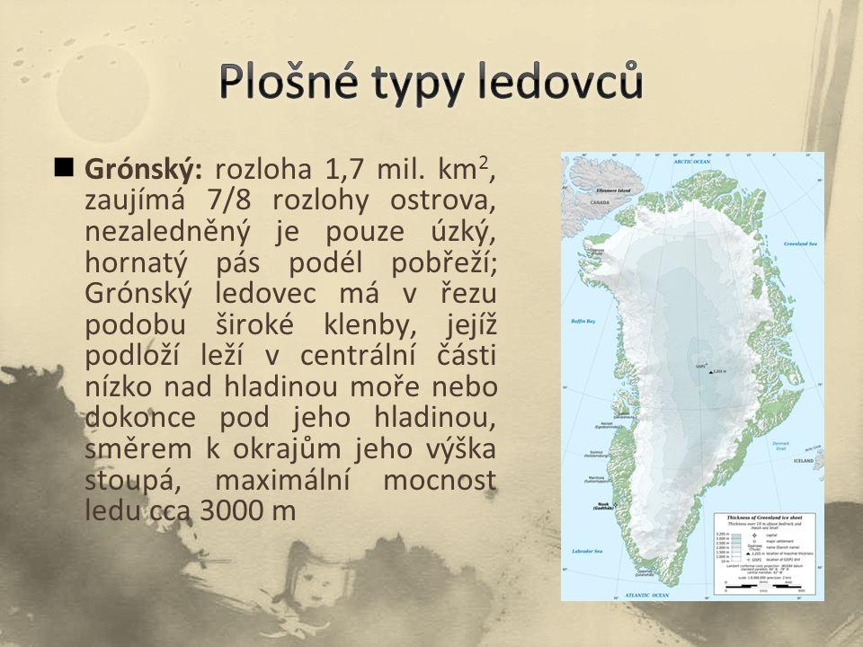 Grónský: rozloha 1,7 mil. km 2, zaujímá 7/8 rozlohy ostrova, nezaledněný je pouze úzký, hornatý pás podél pobřeží; Grónský ledovec má v řezu podobu ši