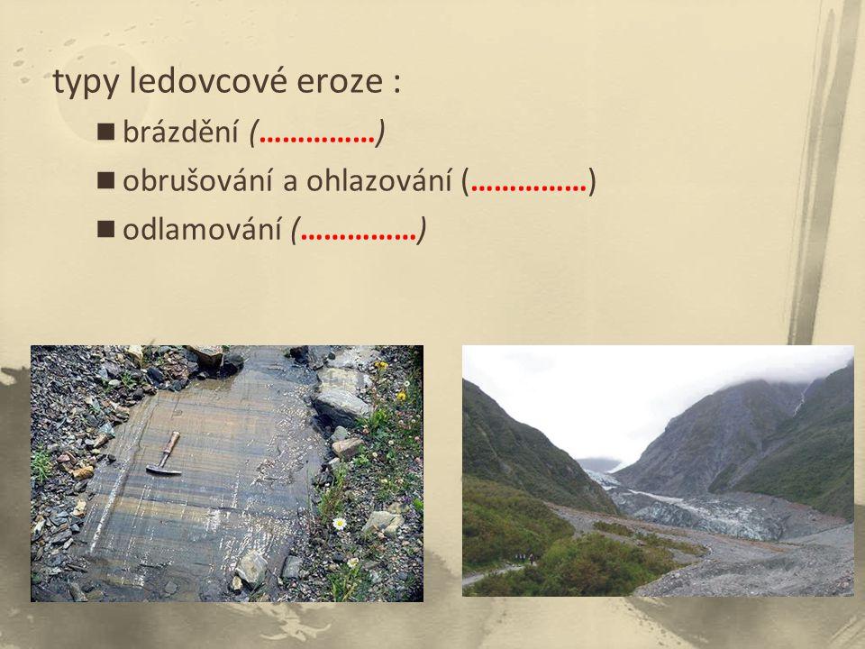 typy ledovcové eroze : brázdění (……………) obrušování a ohlazování (……………) odlamování (……………)