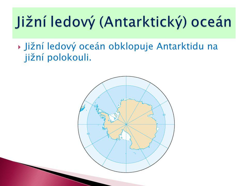  Jižní ledový oceán obklopuje Antarktidu na jižní polokouli.