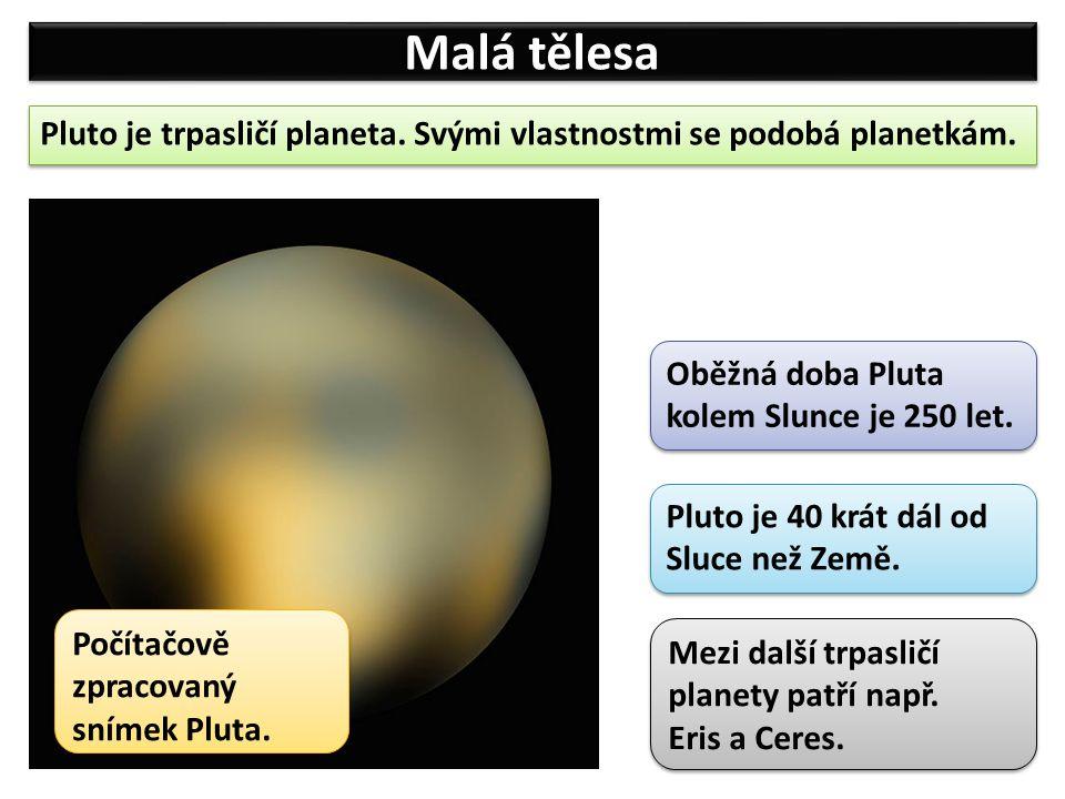 Malá tělesa Pluto je trpasličí planeta.Svými vlastnostmi se podobá planetkám.