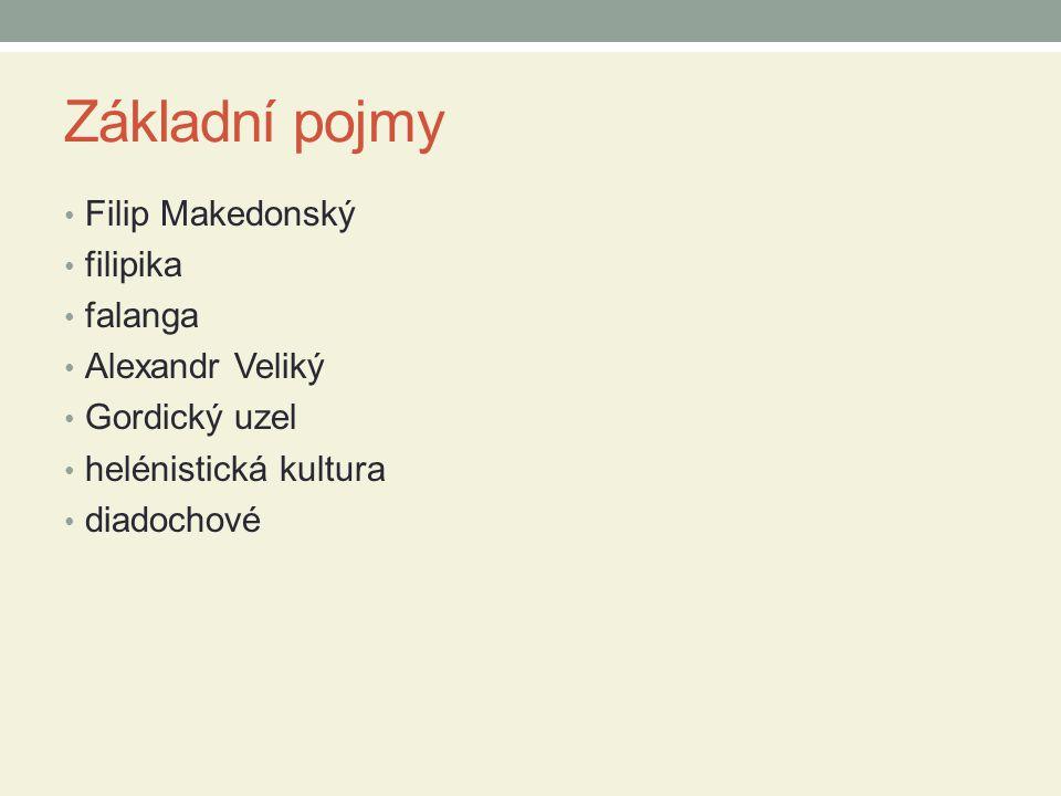 Základní pojmy Filip Makedonský filipika falanga Alexandr Veliký Gordický uzel helénistická kultura diadochové
