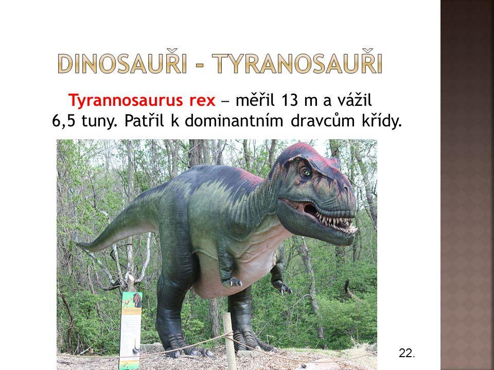 Tyrannosaurus rex ‒ měřil 13 m a vážil 6,5 tuny. Patřil k dominantním dravcům křídy. 22.