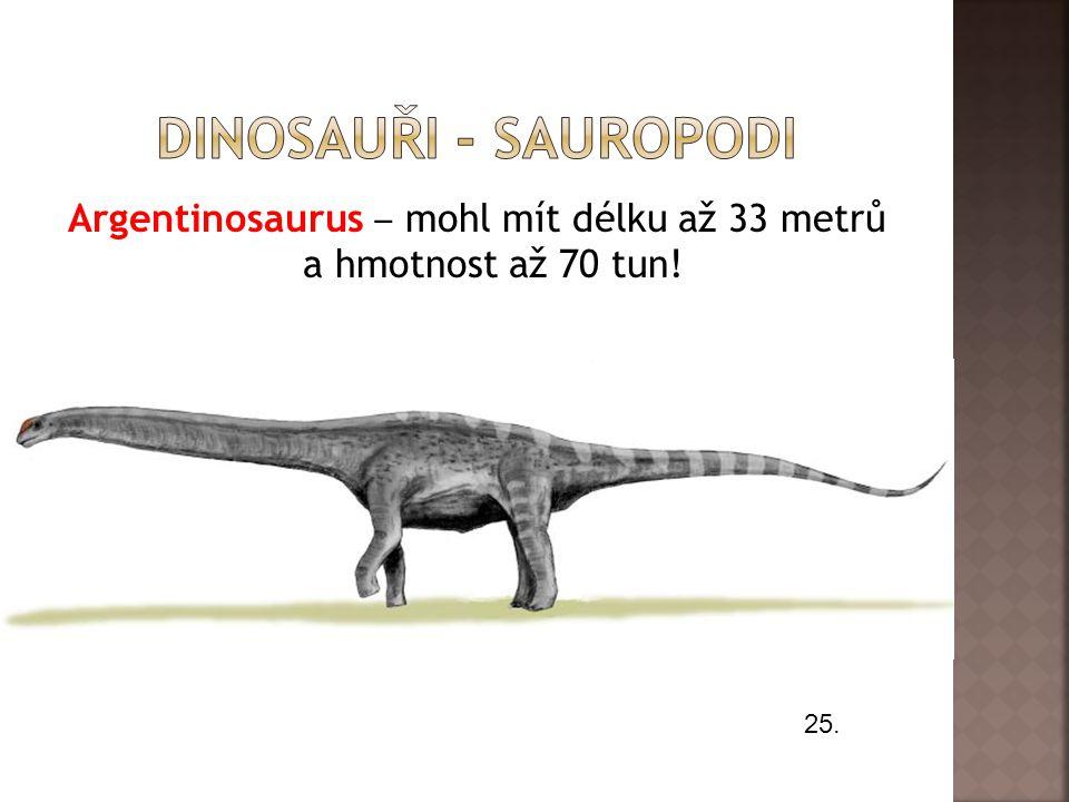 Argentinosaurus ‒ mohl mít délku až 33 metrů a hmotnost až 70 tun! 25.