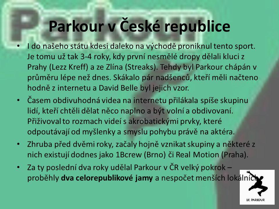 Parkour v České republice I do našeho státu kdesi daleko na východě proniknul tento sport. Je tomu už tak 3-4 roky, kdy první nesmělé dropy dělali klu