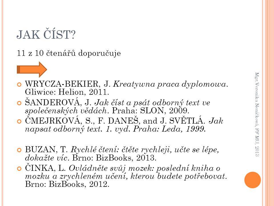 JAK ČÍST? 11 z 10 čtenářů doporučuje WRYCZA-BEKIER, J. Kreatywna praca dyplomowa. Gliwice: Helion, 2011. ŠANDEROVÁ, J. Jak číst a psát odborný text ve