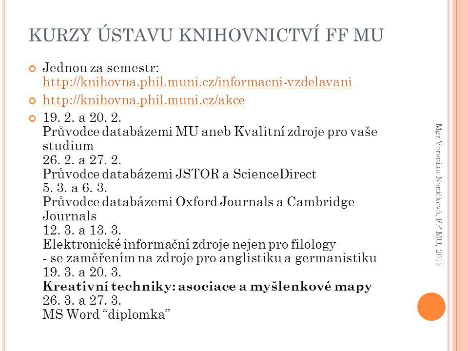 KURZY ÚSTAVU KNIHOVNICTVÍ FF MU Jednou za semestr: http://knihovna.phil.muni.cz/informacni-vzdelavani http://knihovna.phil.muni.cz/informacni-vzdelava