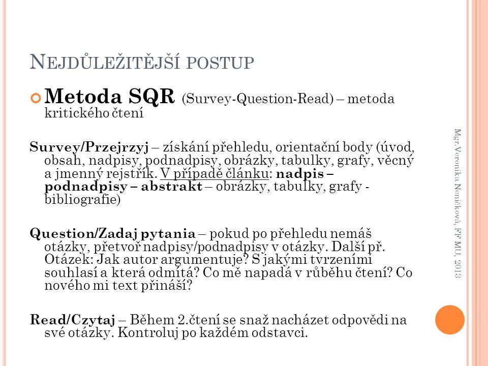 N EJDŮLEŽITĚJŠÍ POSTUP Metoda SQR (Survey-Question-Read) – metoda kritického čtení Survey/Przejrzyj – získání přehledu, orientační body (úvod, obsah,