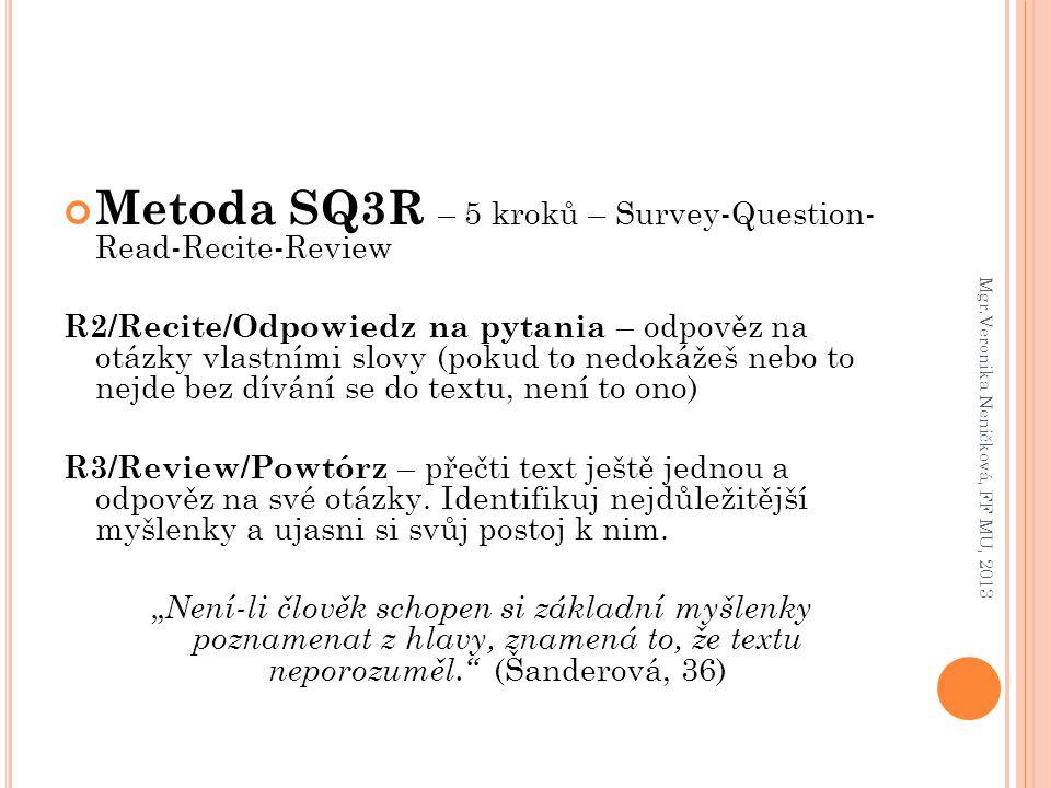 Metoda SQ3R – 5 kroků – Survey-Question- Read-Recite-Review R2/Recite/Odpowiedz na pytania – odpověz na otázky vlastními slovy (pokud to nedokážeš neb