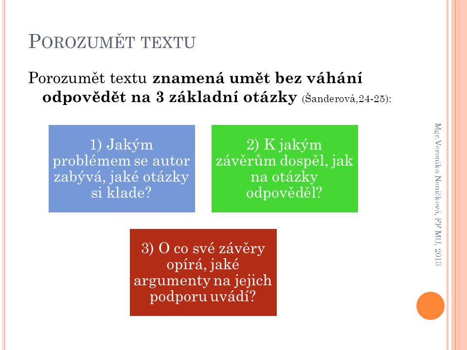 P OROZUMĚT TEXTU Porozumět textu znamená umět bez váhání odpovědět na 3 základní otázky (Šanderová,24-25): Mgr.Veronika Neničková, FF MU, 2013 1) Jaký