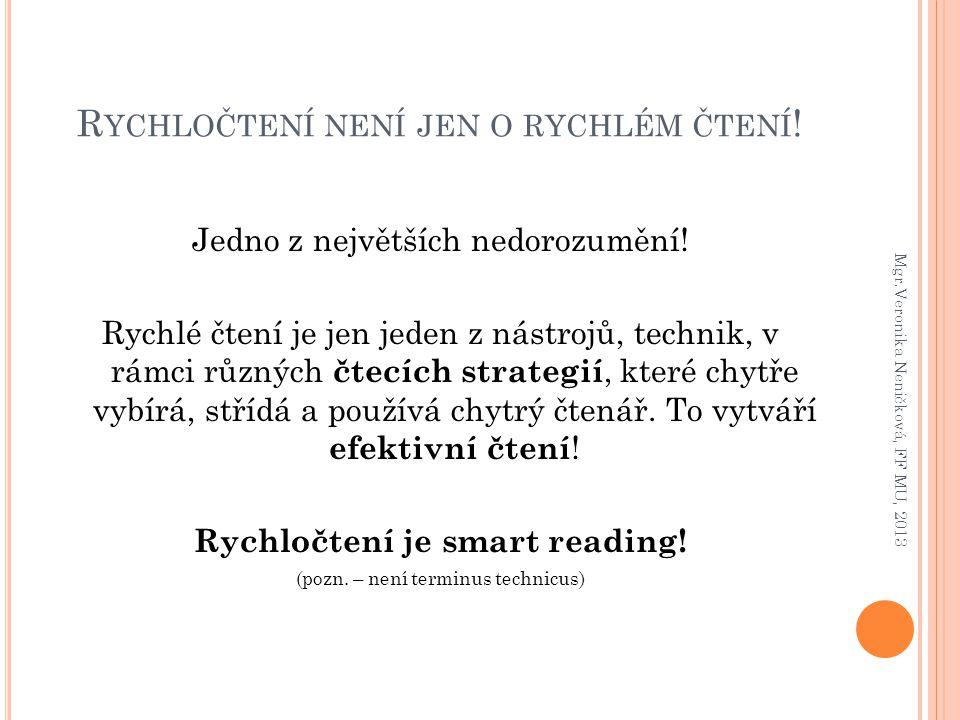 R YCHLOČTENÍ NENÍ JEN O RYCHLÉM ČTENÍ ! Jedno z největších nedorozumění! Rychlé čtení je jen jeden z nástrojů, technik, v rámci různých čtecích strate