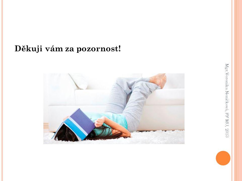 Děkuji vám za pozornost! Mgr.Veronika Neničková, FF MU, 2013