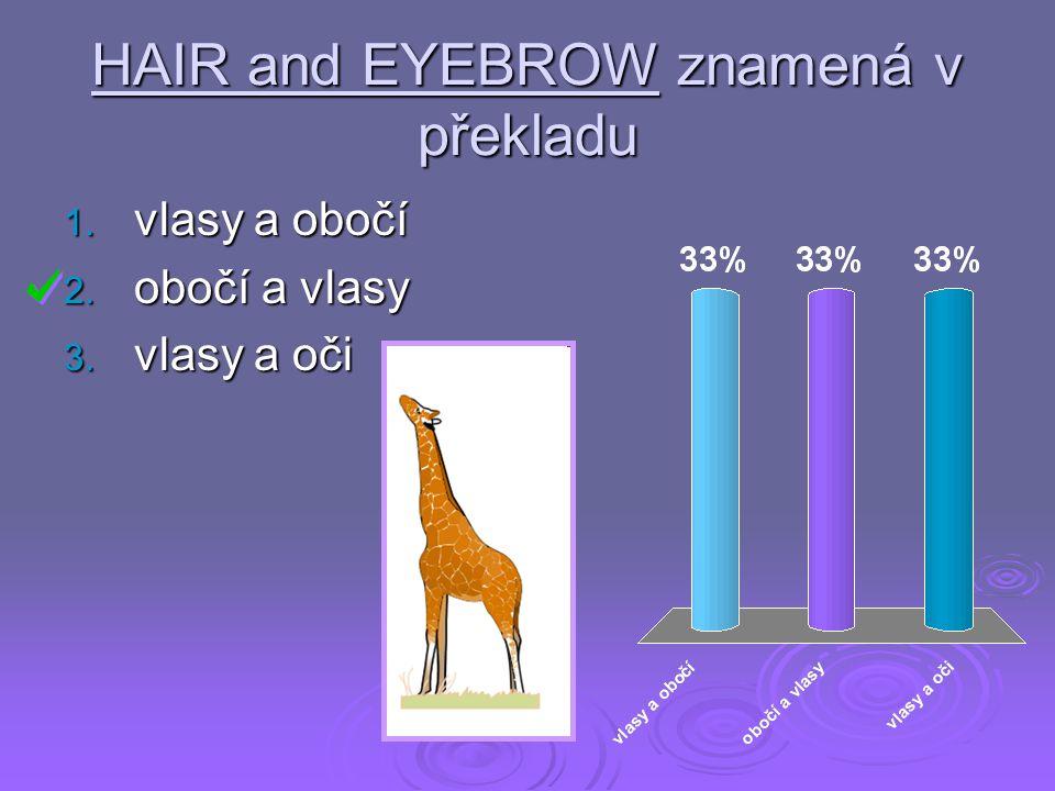 HAIR and EYEBROW znamená v překladu 1. vlasy a obočí 2. obočí a vlasy 3. vlasy a oči