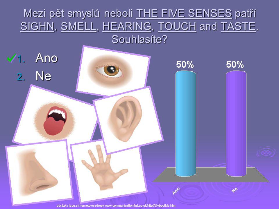 Mezi pět smyslů neboli THE FIVE SENSES patří SIGHN, SMELL, HEARING, TOUCH and TASTE. Souhlasíte? 1. Ano 2. Ne obrázky jsou z internetové adresy www.co