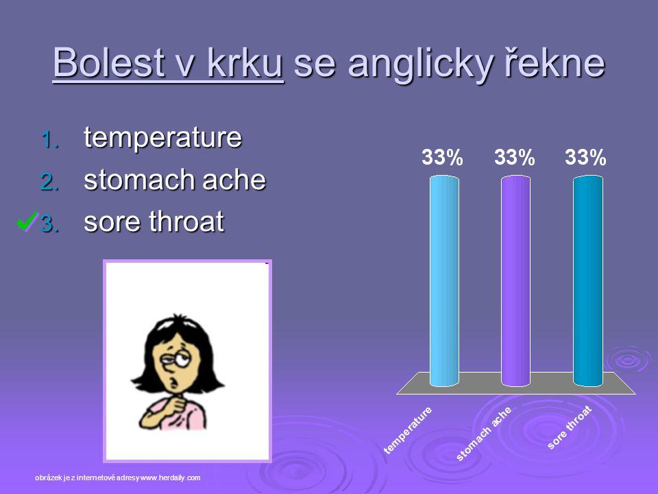 Bolest v krku se anglicky řekne 1. temperature 2. stomach ache 3. sore throat obrázek je z internetové adresy www.herdaily.com