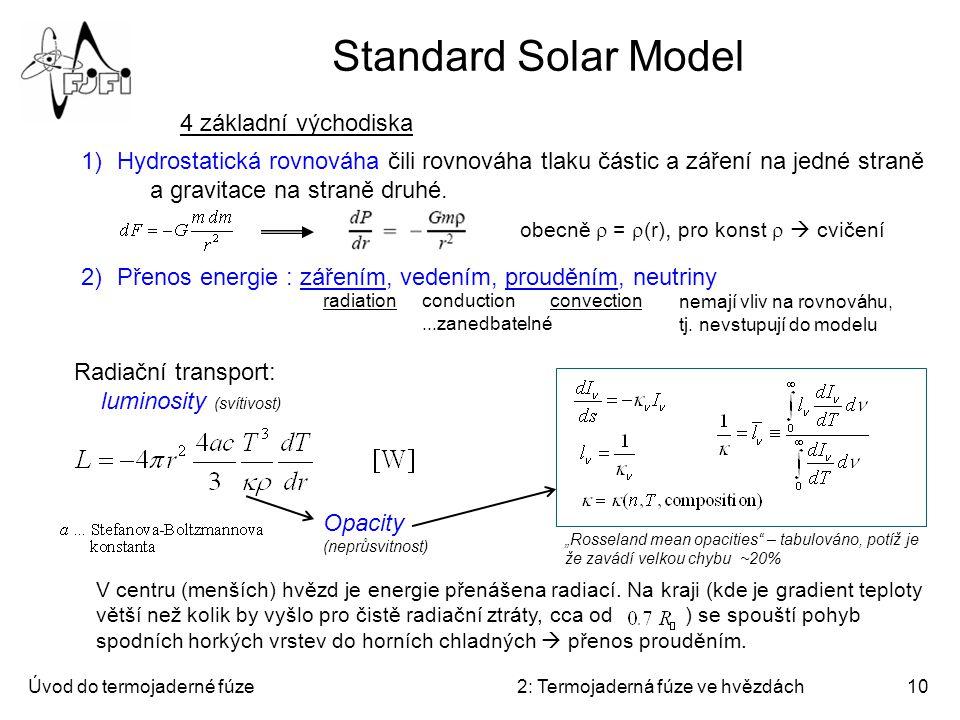 Úvod do termojaderné fúze2: Termojaderná fúze ve hvězdách10 Standard Solar Model 4 základní východiska 1)Hydrostatická rovnováha čili rovnováha tlaku