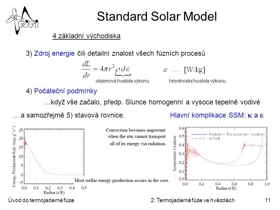 Úvod do termojaderné fúze2: Termojaderná fúze ve hvězdách11 Standard Solar Model 4 základní východiska 3) Zdroj energie čili detailní znalost všech fú