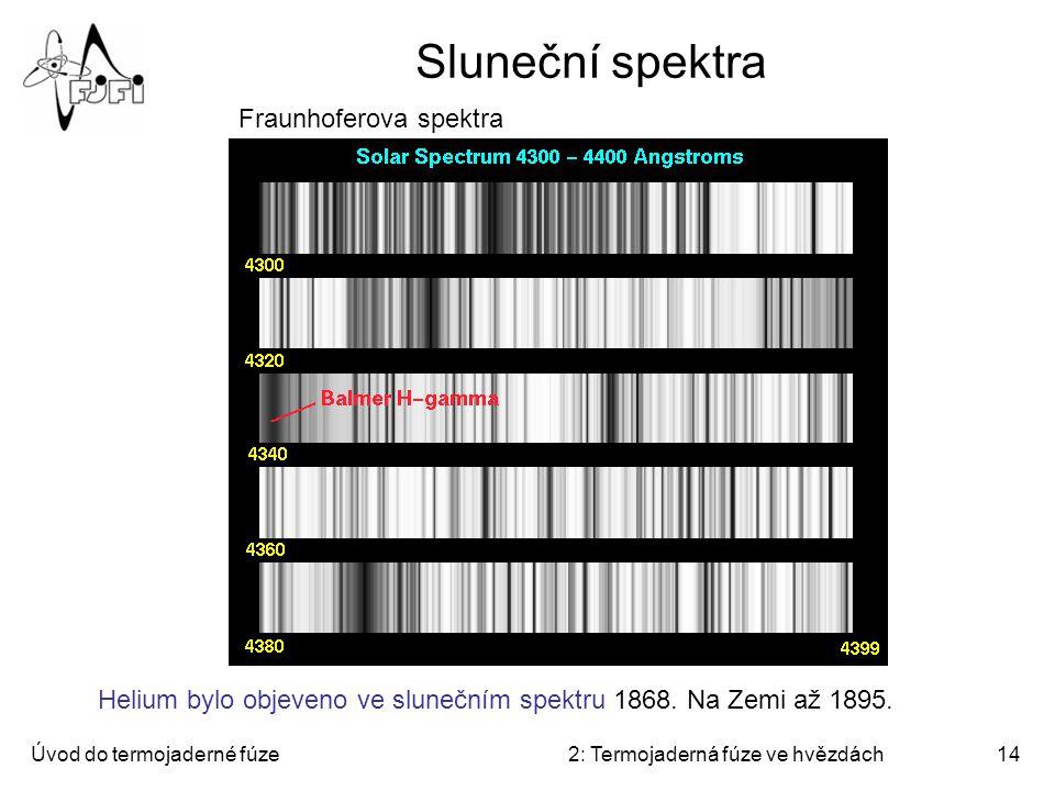 Úvod do termojaderné fúze2: Termojaderná fúze ve hvězdách14 Sluneční spektra He 304Å 171Å, 195Å and 284Å Fe 171Å Podíl dvou čar Fe SXR Fraunhoferova s