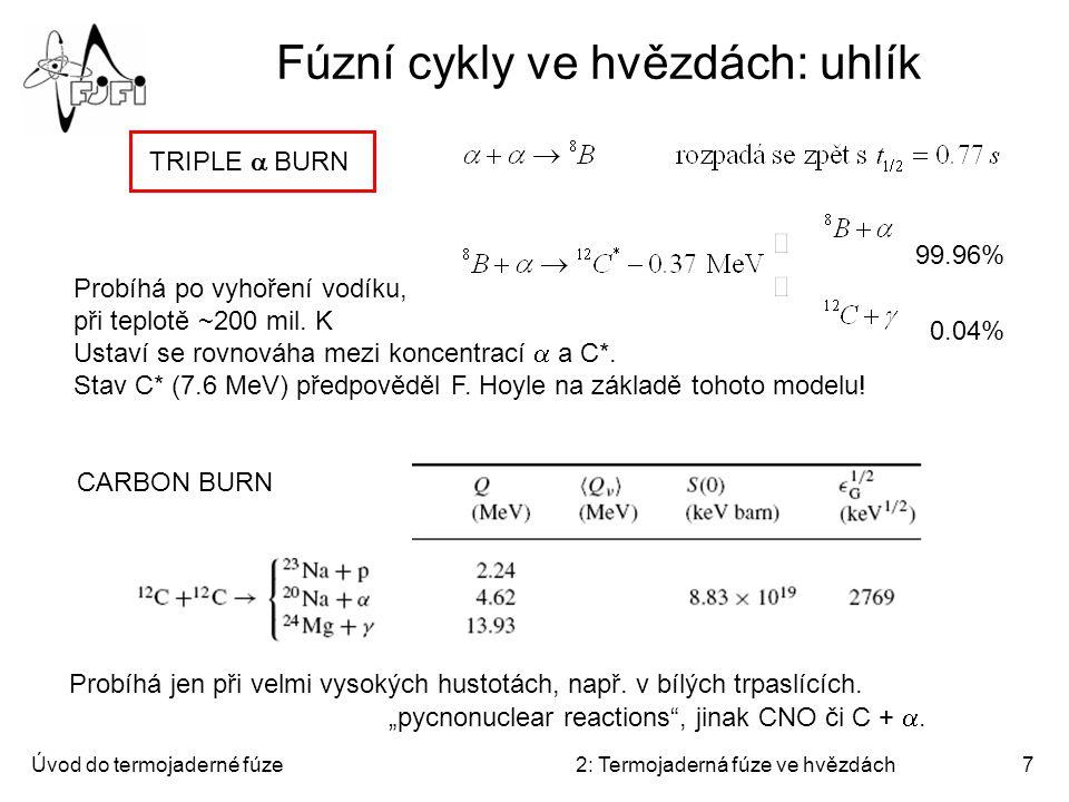 Úvod do termojaderné fúze2: Termojaderná fúze ve hvězdách7 Fúzní cykly ve hvězdách: uhlík Probíhá po vyhoření vodíku, při teplotě ~200 mil. K Ustaví s