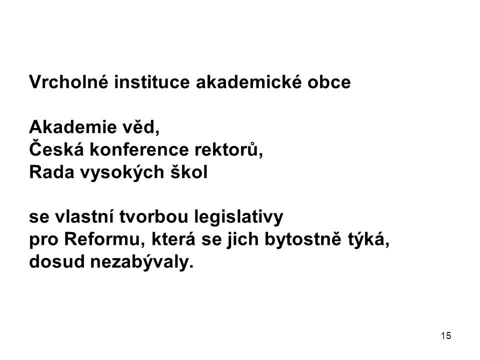 15 Vrcholné instituce akademické obce Akademie věd, Česká konference rektorů, Rada vysokých škol se vlastní tvorbou legislativy pro Reformu, která se
