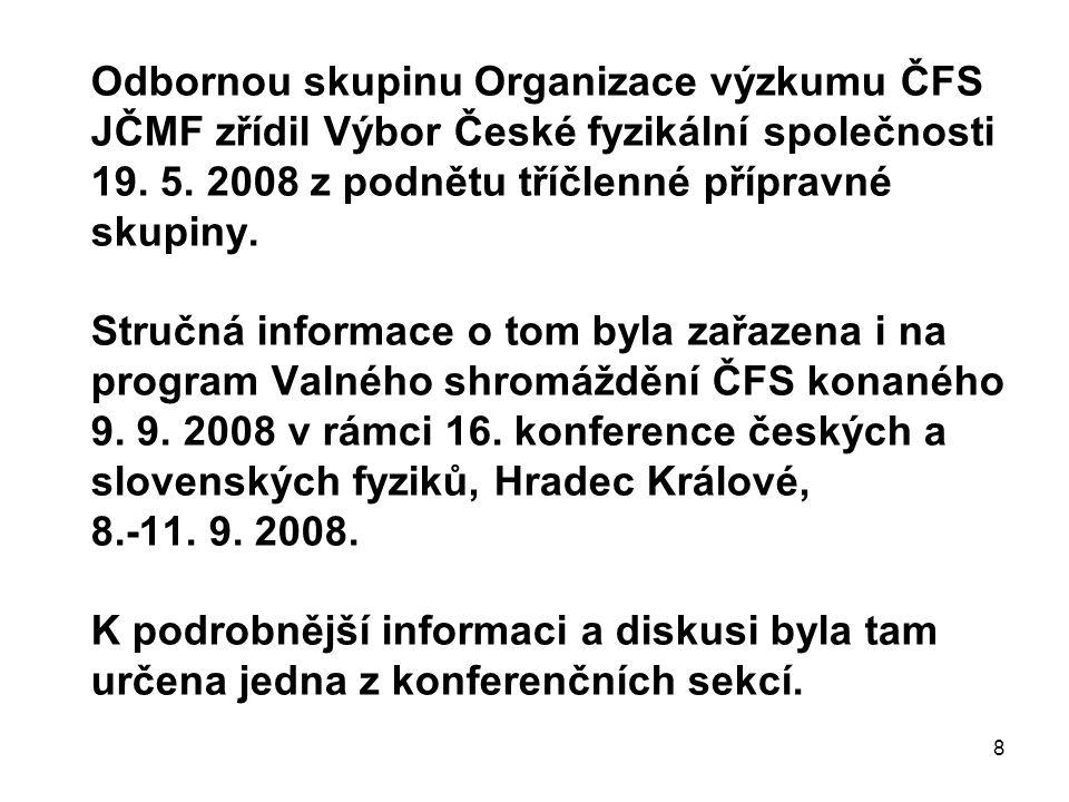 8 Odbornou skupinu Organizace výzkumu ČFS JČMF zřídil Výbor České fyzikální společnosti 19. 5. 2008 z podnětu tříčlenné přípravné skupiny. Stručná inf