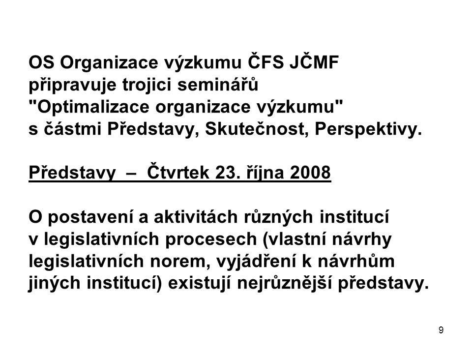 9 OS Organizace výzkumu ČFS JČMF připravuje trojici seminářů