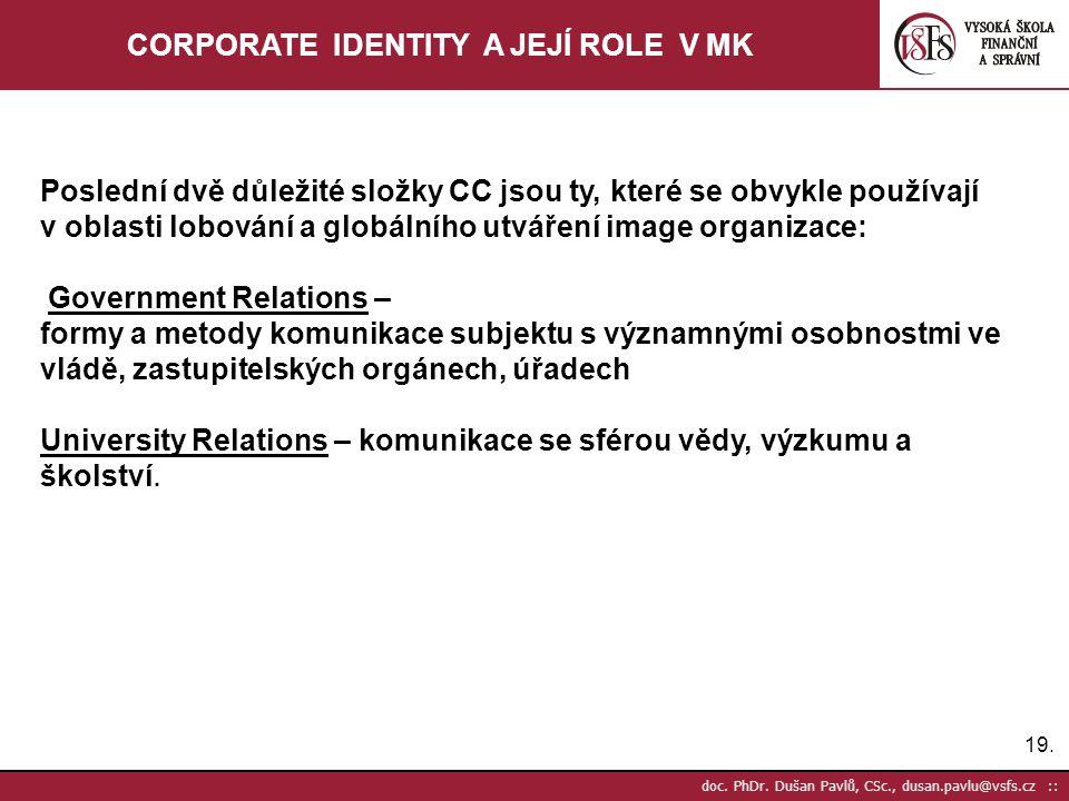 19. doc. PhDr. Dušan Pavlů, CSc., dusan.pavlu@vsfs.cz :: CORPORATE IDENTITY A JEJÍ ROLE V MK Poslední dvě důležité složky CC jsou ty, které se obvykle