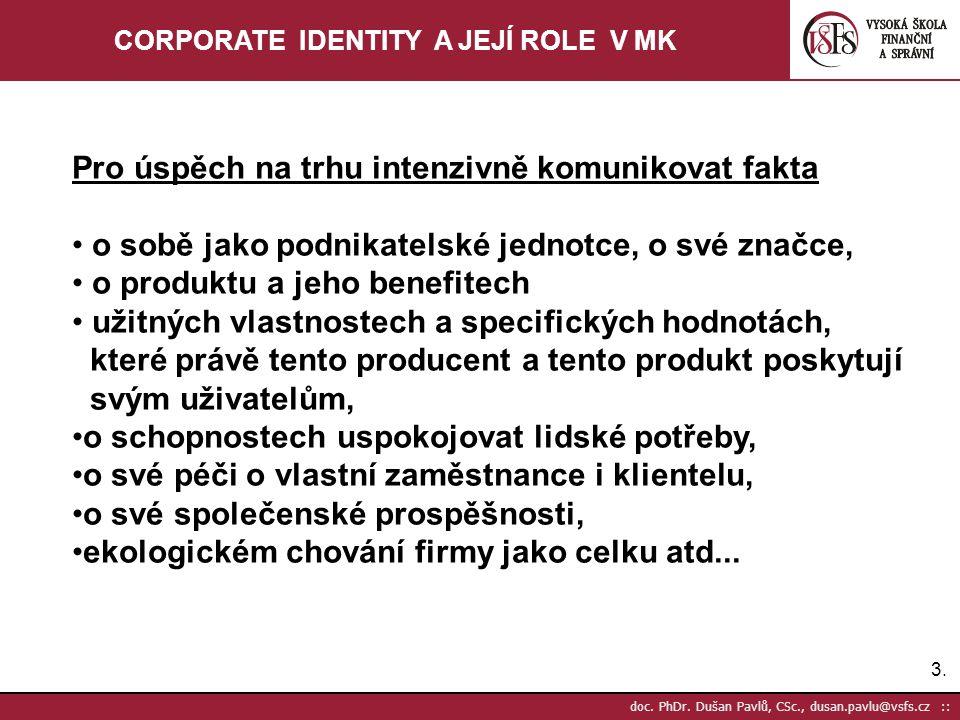 3.3. doc. PhDr. Dušan Pavlů, CSc., dusan.pavlu@vsfs.cz :: CORPORATE IDENTITY A JEJÍ ROLE V MK Pro úspěch na trhu intenzivně komunikovat fakta o sobě j