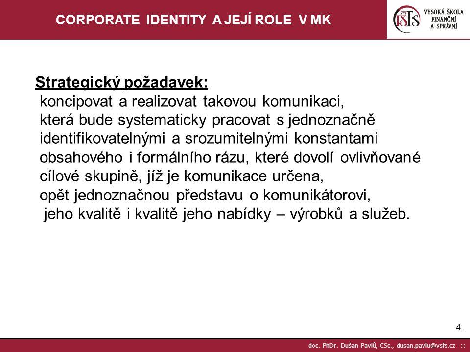4.4. doc. PhDr. Dušan Pavlů, CSc., dusan.pavlu@vsfs.cz :: CORPORATE IDENTITY A JEJÍ ROLE V MK Strategický požadavek: koncipovat a realizovat takovou k