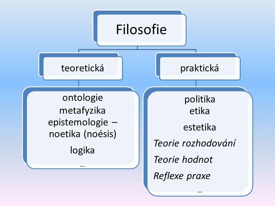 Filosofie teoretická ontologie metafyzika epistemologie – noetika (noésis) logika … praktická politika etika estetika Teorie rozhodování Teorie hodnot