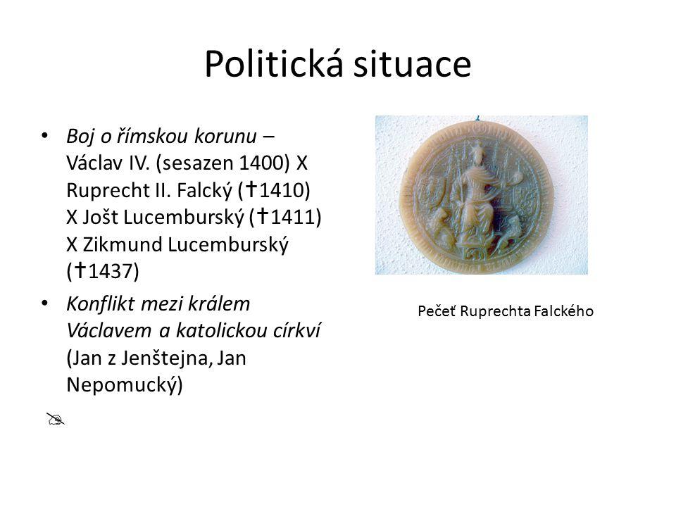 Politická situace Boj o římskou korunu – Václav IV. (sesazen 1400) X Ruprecht II. Falcký (  1410) X Jošt Lucemburský (  1411) X Zikmund Lucemburský