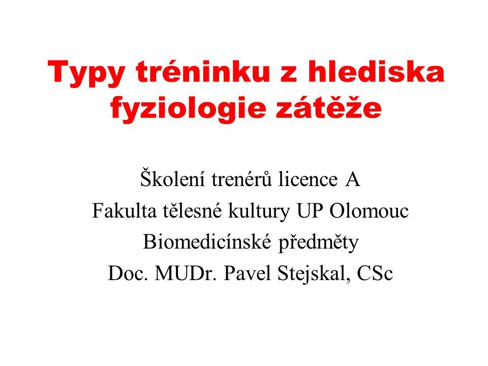 Typy tréninku z hlediska fyziologie zátěže Školení trenérů licence A Fakulta tělesné kultury UP Olomouc Biomedicínské předměty Doc.