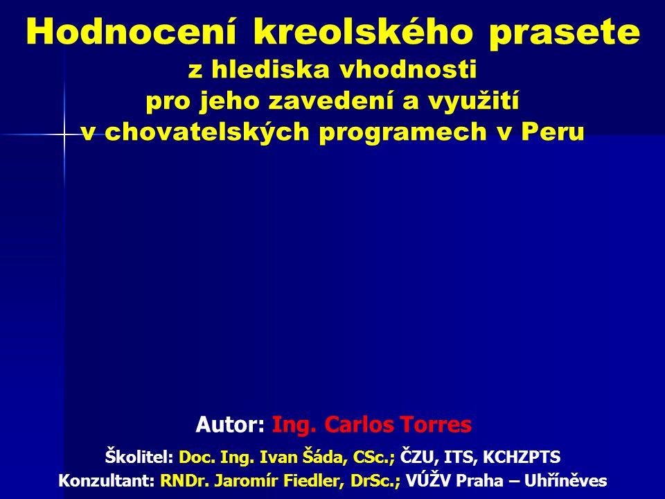 ÚVOD Současná situace v chovu prasat snaha o intenzifikaci v intenzivních chovech je využíváno jen několik plemen vhodnost využiti místních plemen Původ názvu kreolský Crio – kojenec, dítě, mládě Criollo (Šp - kreol) – Španěl narozený na Novém světě Crioulo (Po – kreol) – otrok narozený na Novém světe Místní plemena – cenné genetické rezervy a kulturně historické dědictví každého národa Komerční plemena – v podmínkách LA jsou neschopna udržet a využit svůj genetický potenciál Intenzivní chov v LA je závislý na dovozu krmných směsí.