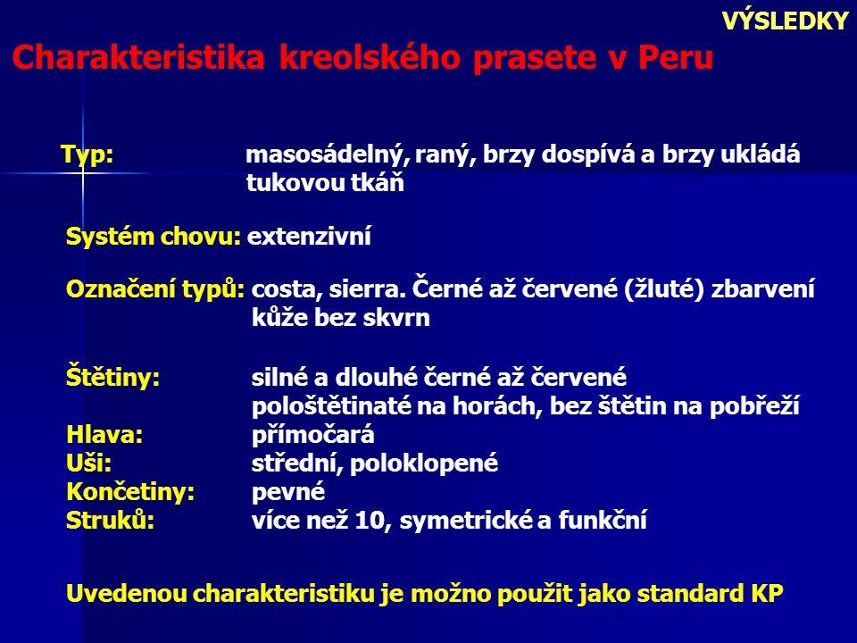 VÝSLEDKY Charakteristika kreolského prasete v Peru Uvedenou charakteristiku je možno použit jako standard KP Typ: masosádelný, raný, brzy dospívá a brzy ukládá tukovou tkáň Systém chovu: extenzivní Označení typů: costa, sierra.