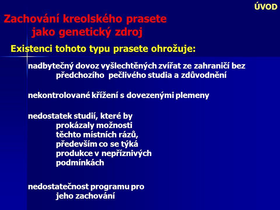 ÚVOD Přeštické černostrakaté prase (PC) genetický zdroj (GZ) jako příklad pro chov kreolského prasete V § 2 zákona č.