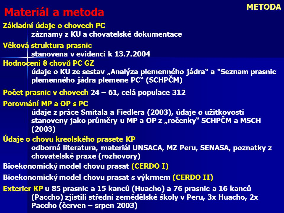 METODA Materiál a metoda Základní údaje o chovech PC záznamy z KU a chovatelské dokumentace Věková struktura prasnic stanovena v evidenci k 13.7.2004