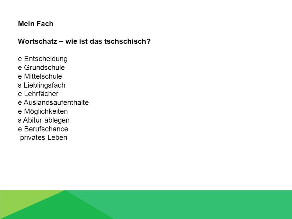 Mein Fach Wortschatz – wie ist das deutsch.