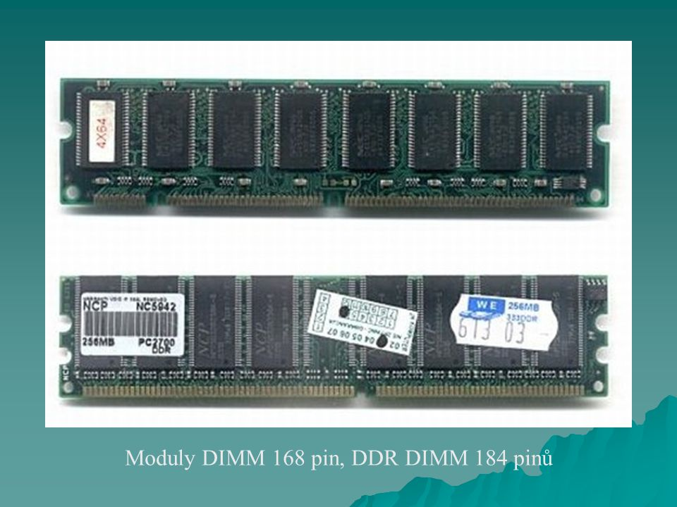 Moduly DIMM 168 pin, DDR DIMM 184 pinů
