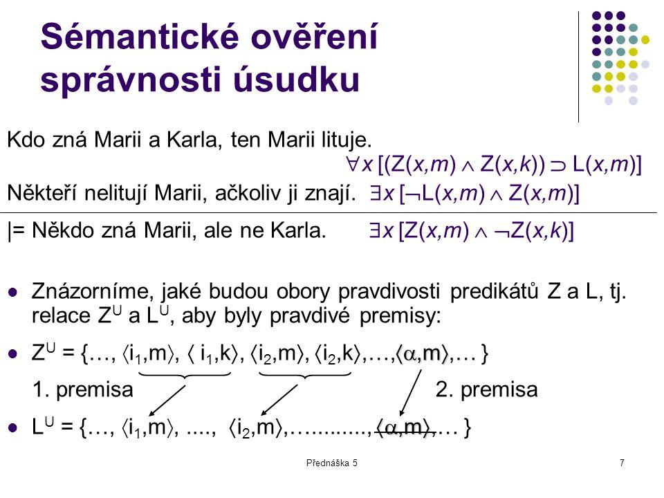 Přednáška 57 Sémantické ověření správnosti úsudku Kdo zná Marii a Karla, ten Marii lituje.  x [(Z(x,m)  Z(x,k))  L(x,m)] Někteří nelitují Marii, ač